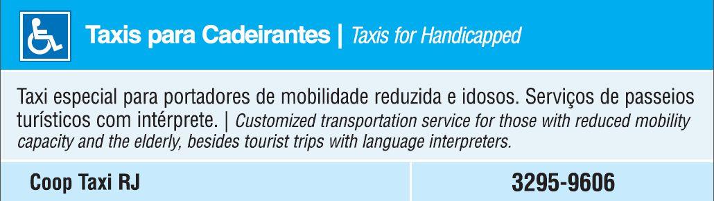 Táxi para Cadeirantes - Taxis for Handicapped